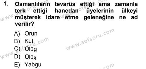 Osmanlı Merkez ve Taşra Teşkilatı Dersi 2012 - 2013 Yılı Dönem Sonu Sınavı 1. Soru