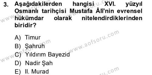 Osmanlı Merkez ve Taşra Teşkilatı Dersi 2014 - 2015 Yılı Ara Sınavı 3. Soru
