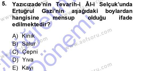 Tarih Bölümü 3. Yarıyıl Osmanlı Merkez ve Taşra Teşkilatı Dersi 2015 Yılı Güz Dönemi Ara Sınavı 5. Soru