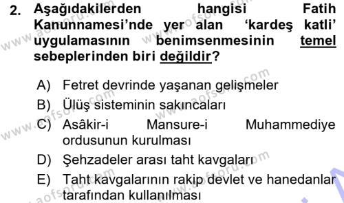 Tarih Bölümü 3. Yarıyıl Osmanlı Merkez ve Taşra Teşkilatı Dersi 2016 Yılı Güz Dönemi Ara Sınavı 2. Soru