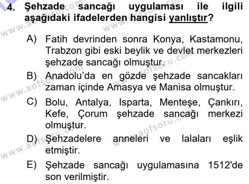 Tarih Bölümü 3. Yarıyıl Osmanlı Merkez ve Taşra Teşkilatı Dersi 2016 Yılı Güz Dönemi Ara Sınavı 4. Soru