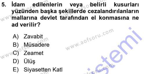 Tarih Bölümü 3. Yarıyıl Osmanlı Merkez ve Taşra Teşkilatı Dersi 2016 Yılı Güz Dönemi Ara Sınavı 5. Soru