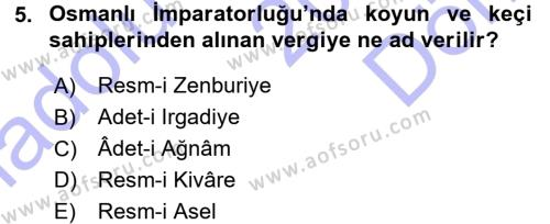 Tarih Bölümü 3. Yarıyıl Osmanlı Merkez ve Taşra Teşkilatı Dersi 2016 Yılı Güz Dönemi Dönem Sonu Sınavı 5. Soru