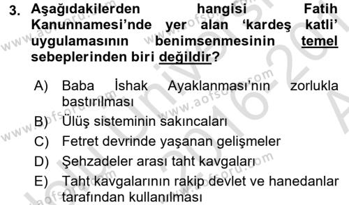 Osmanlı Merkez ve Taşra Teşkilatı Dersi 2016 - 2017 Yılı (Vize) Ara Sınav Soruları 3. Soru