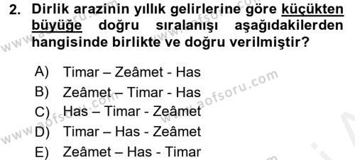 Osmanlı Merkez ve Taşra Teşkilatı Dersi 2016 - 2017 Yılı Dönem Sonu Sınavı 2. Soru
