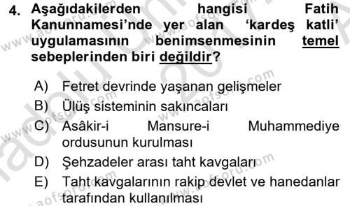 Osmanlı Merkez ve Taşra Teşkilatı Dersi 2017 - 2018 Yılı Ara Sınavı 4. Soru
