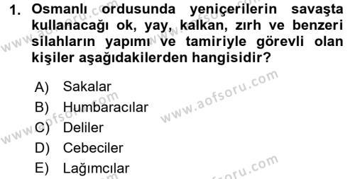 Osmanlı Merkez ve Taşra Teşkilatı Dersi 2017 - 2018 Yılı Dönem Sonu Sınavı 1. Soru