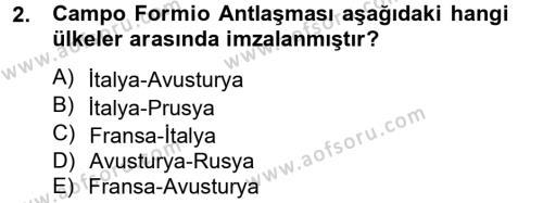 Tarih Bölümü 4. Yarıyıl Osmanlı Tarihi (1789-1876) Dersi 2013 Yılı Bahar Dönemi Dönem Sonu Sınavı 2. Soru
