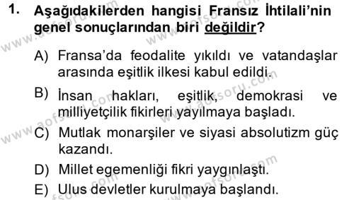 Tarih Bölümü 4. Yarıyıl Osmanlı Tarihi (1789-1876) Dersi 2014 Yılı Bahar Dönemi Ara Sınavı 1. Soru