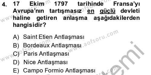 Tarih Bölümü 4. Yarıyıl Osmanlı Tarihi (1789-1876) Dersi 2014 Yılı Bahar Dönemi Dönem Sonu Sınavı 4. Soru