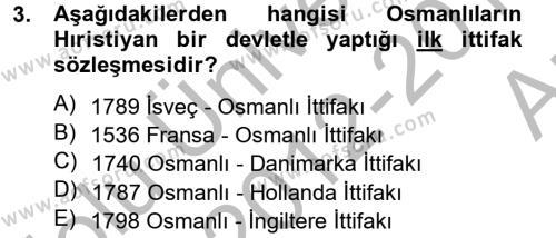 Osmanlı Tarihi (1789-1876) Dersi 2012 - 2013 Yılı Ara Sınavı 3. Soru