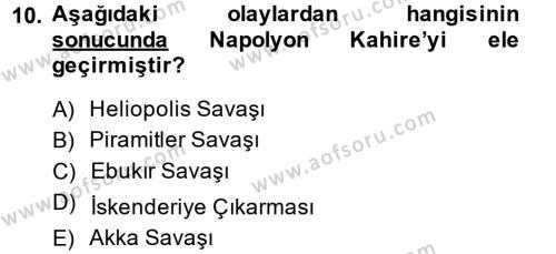 Osmanlı Tarihi (1789-1876) Dersi 2013 - 2014 Yılı Ara Sınavı 10. Soru 1. Soru