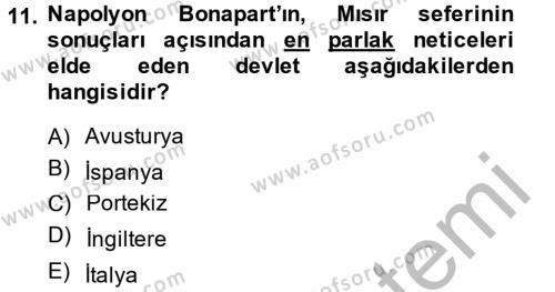 Osmanlı Tarihi (1789-1876) Dersi 2013 - 2014 Yılı Ara Sınavı 11. Soru 1. Soru
