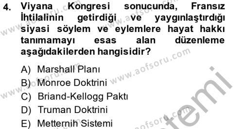 Osmanlı Tarihi (1789-1876) Dersi 2013 - 2014 Yılı Ara Sınavı 4. Soru
