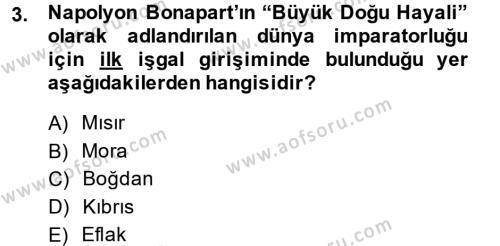 Osmanlı Tarihi (1789-1876) Dersi 2013 - 2014 Yılı (Final) Dönem Sonu Sınav Soruları 3. Soru