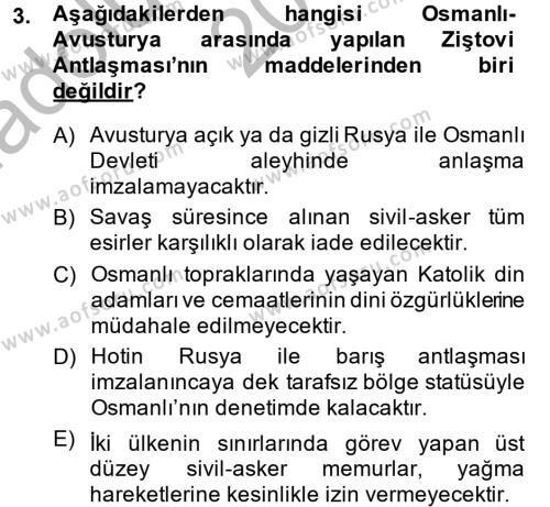 Osmanlı Tarihi (1789-1876) Dersi 2014 - 2015 Yılı Ara Sınavı 3. Soru