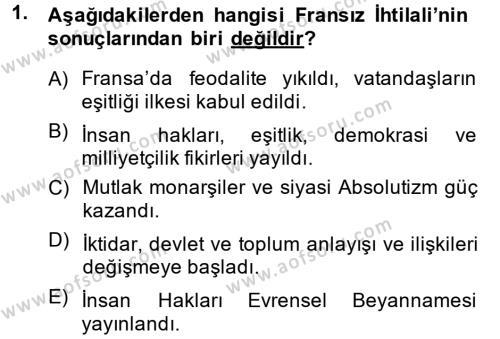 Osmanlı Tarihi (1789-1876) Dersi 2014 - 2015 Yılı Dönem Sonu Sınavı 1. Soru