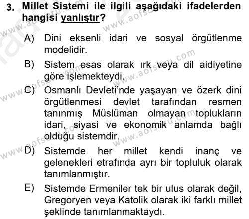 Osmanlı Tarihi (1789-1876) Dersi Ara Sınavı Deneme Sınav Soruları 3. Soru