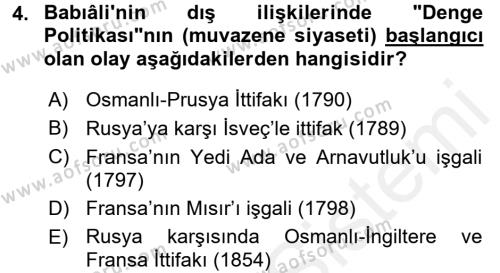 Osmanlı Tarihi (1789-1876) Dersi 2015 - 2016 Yılı Ara Sınavı 4. Soru
