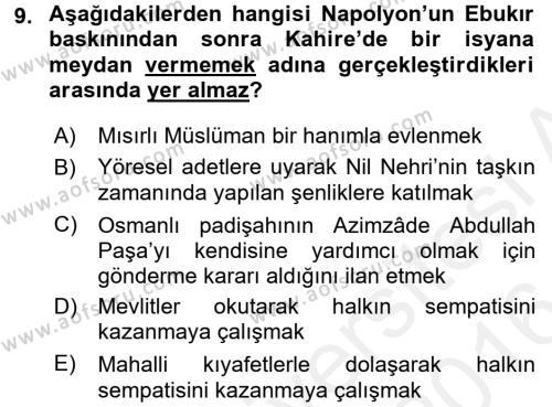 Osmanlı Tarihi (1789-1876) Dersi Ara Sınavı Deneme Sınav Soruları 9. Soru