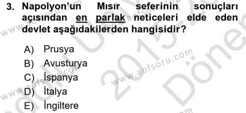 Osmanlı Tarihi (1789-1876) Dersi 2015 - 2016 Yılı (Final) Dönem Sonu Sınav Soruları 3. Soru