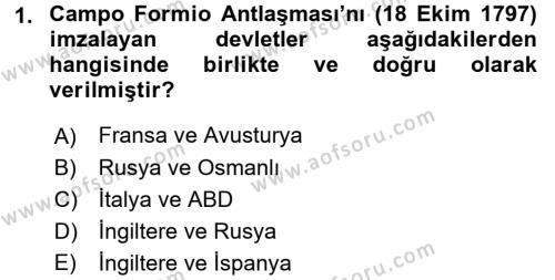 Osmanlı Tarihi (1789-1876) Dersi Ara Sınavı Deneme Sınav Soruları 1. Soru