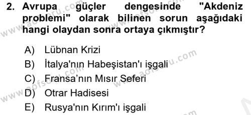 Osmanlı Tarihi (1789-1876) Dersi 2017 - 2018 Yılı Dönem Sonu Sınavı 2. Soru