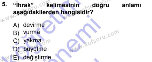 Tarih Bölümü 3. Yarıyıl Osmanlı Türkçesi Metinleri I Dersi 2013 Yılı Güz Dönemi Dönem Sonu Sınavı 5. Soru