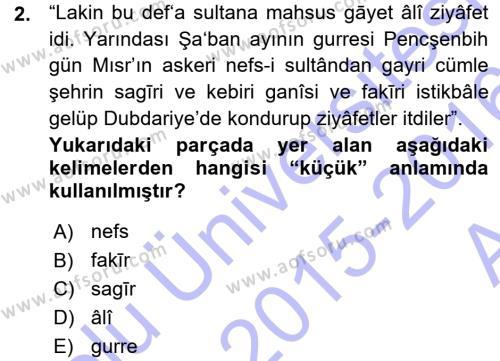 Osmanlı Türkçesi Metinleri 1 Dersi 2015 - 2016 Yılı Ara Sınavı 2. Soru