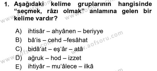 Tarih Bölümü 3. Yarıyıl Osmanlı Türkçesi Metinleri I Dersi 2016 Yılı Güz Dönemi Dönem Sonu Sınavı 1. Soru