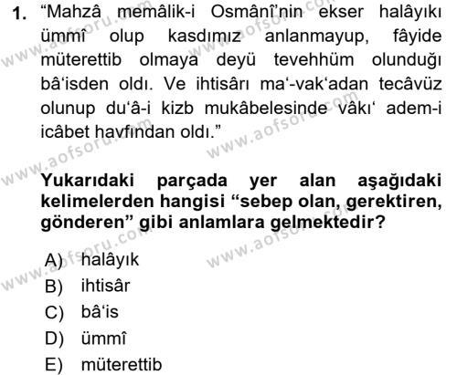 Osmanlı Türkçesi Metinleri 1 Dersi 2016 - 2017 Yılı Ara Sınavı 1. Soru