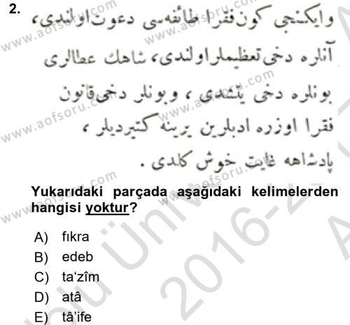 Osmanlı Türkçesi Metinleri 1 Dersi 2016 - 2017 Yılı Ara Sınavı 2. Soru