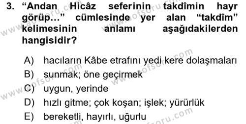 Osmanlı Türkçesi Metinleri 1 Dersi 2016 - 2017 Yılı Ara Sınavı 3. Soru