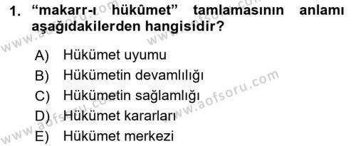 Osmanlı Türkçesi Metinleri 1 Dersi 2016 - 2017 Yılı Dönem Sonu Sınavı 1. Soru