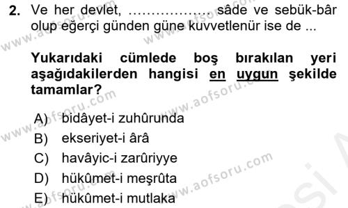 Osmanlı Türkçesi Metinleri 1 Dersi 2016 - 2017 Yılı Dönem Sonu Sınavı 2. Soru