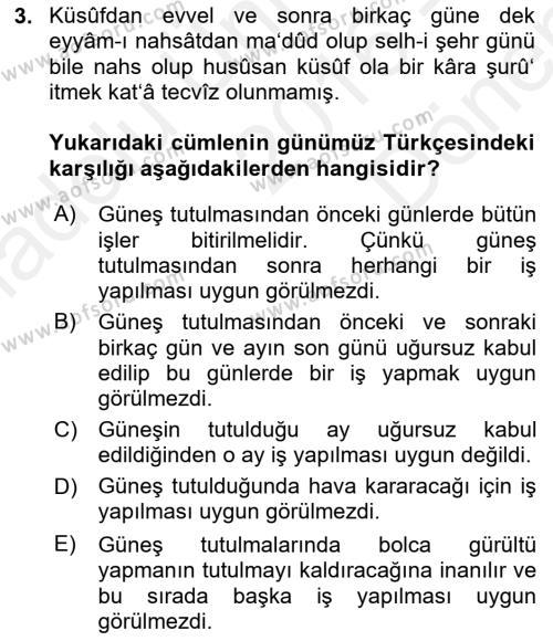 Osmanlı Türkçesi Metinleri 1 Dersi 2016 - 2017 Yılı Dönem Sonu Sınavı 3. Soru