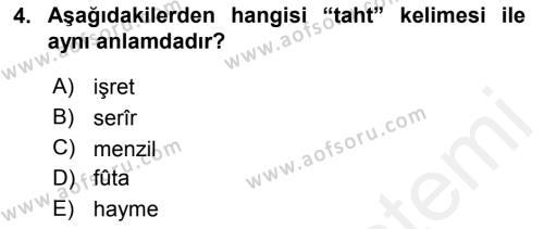 Osmanlı Türkçesi Metinleri 1 Dersi 2016 - 2017 Yılı Dönem Sonu Sınavı 4. Soru