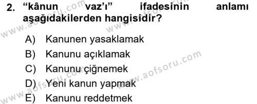 Osmanlı Türkçesi Metinleri 1 Dersi 2017 - 2018 Yılı Ara Sınavı 2. Soru