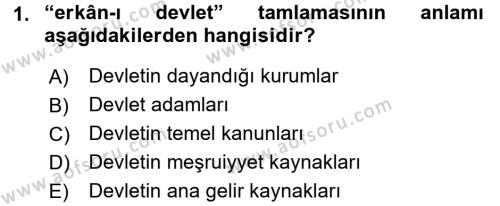 Osmanlı Türkçesi Metinleri 1 Dersi 2017 - 2018 Yılı Dönem Sonu Sınavı 1. Soru