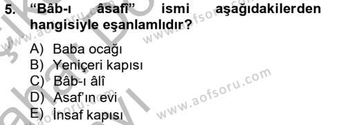 Tarih Bölümü 4. Yarıyıl Osmanlı Türkçesi Metinleri II Dersi 2013 Yılı Bahar Dönemi Ara Sınavı 5. Soru