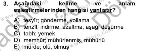 Osmanlı Türkçesi Metinleri 2 Dersi 2012 - 2013 Yılı (Final) Dönem Sonu Sınav Soruları 3. Soru