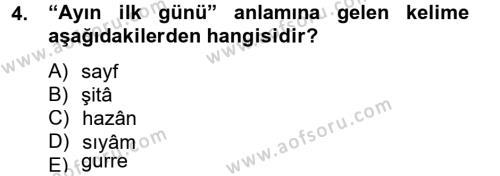 Osmanlı Türkçesi Metinleri 2 Dersi 2012 - 2013 Yılı Dönem Sonu Sınavı 4. Soru
