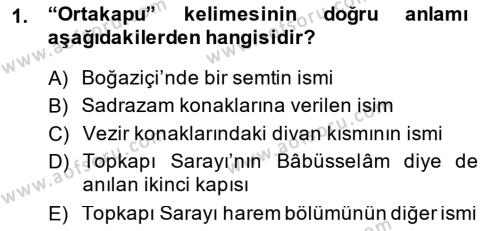 Tarih Bölümü 4. Yarıyıl Osmanlı Türkçesi Metinleri II Dersi 2015 Yılı Bahar Dönemi Ara Sınavı 1. Soru
