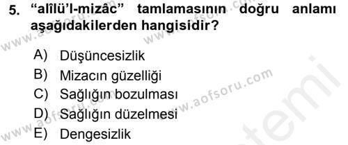 Tarih Bölümü 4. Yarıyıl Osmanlı Türkçesi Metinleri II Dersi 2016 Yılı Bahar Dönemi Ara Sınavı 5. Soru