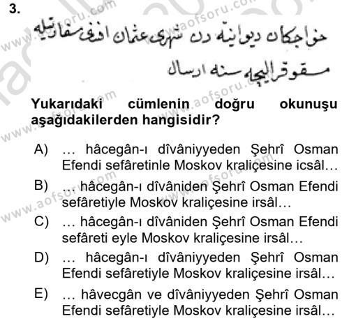 Osmanlı Türkçesi Metinleri 2 Dersi 2015 - 2016 Yılı Dönem Sonu Sınavı 3. Soru