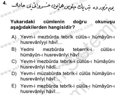 Osmanlı Türkçesi Metinleri 2 Dersi 2015 - 2016 Yılı Dönem Sonu Sınavı 4. Soru