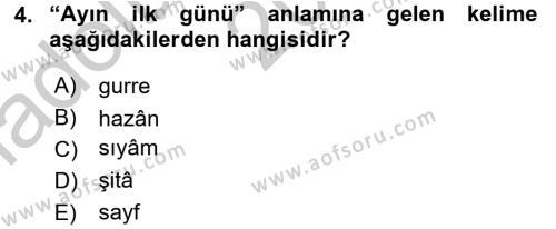 Osmanlı Türkçesi Metinleri 2 Dersi 2016 - 2017 Yılı Ara Sınavı 4. Soru