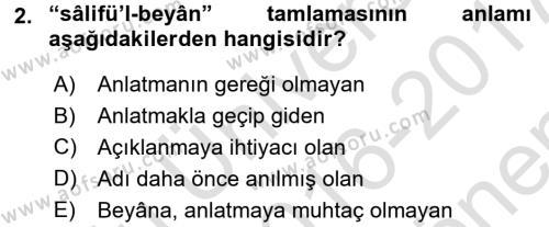 Osmanlı Türkçesi Metinleri 2 Dersi 2016 - 2017 Yılı (Final) Dönem Sonu Sınavı 2. Soru