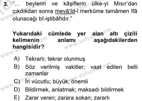 Osmanlı Türkçesi Metinleri 2 Dersi 2016 - 2017 Yılı (Final) Dönem Sonu Sınavı 3. Soru
