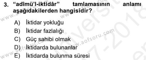 Osmanlı Türkçesi Metinleri 2 Dersi 2017 - 2018 Yılı (Final) Dönem Sonu Sınav Soruları 3. Soru